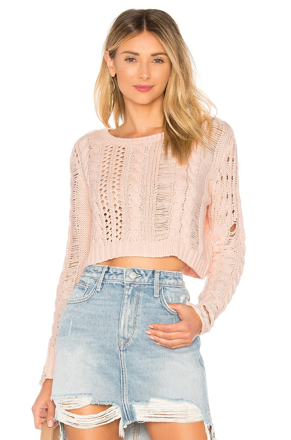 Lovers & Friends Distress Me Out Sweater In Pink