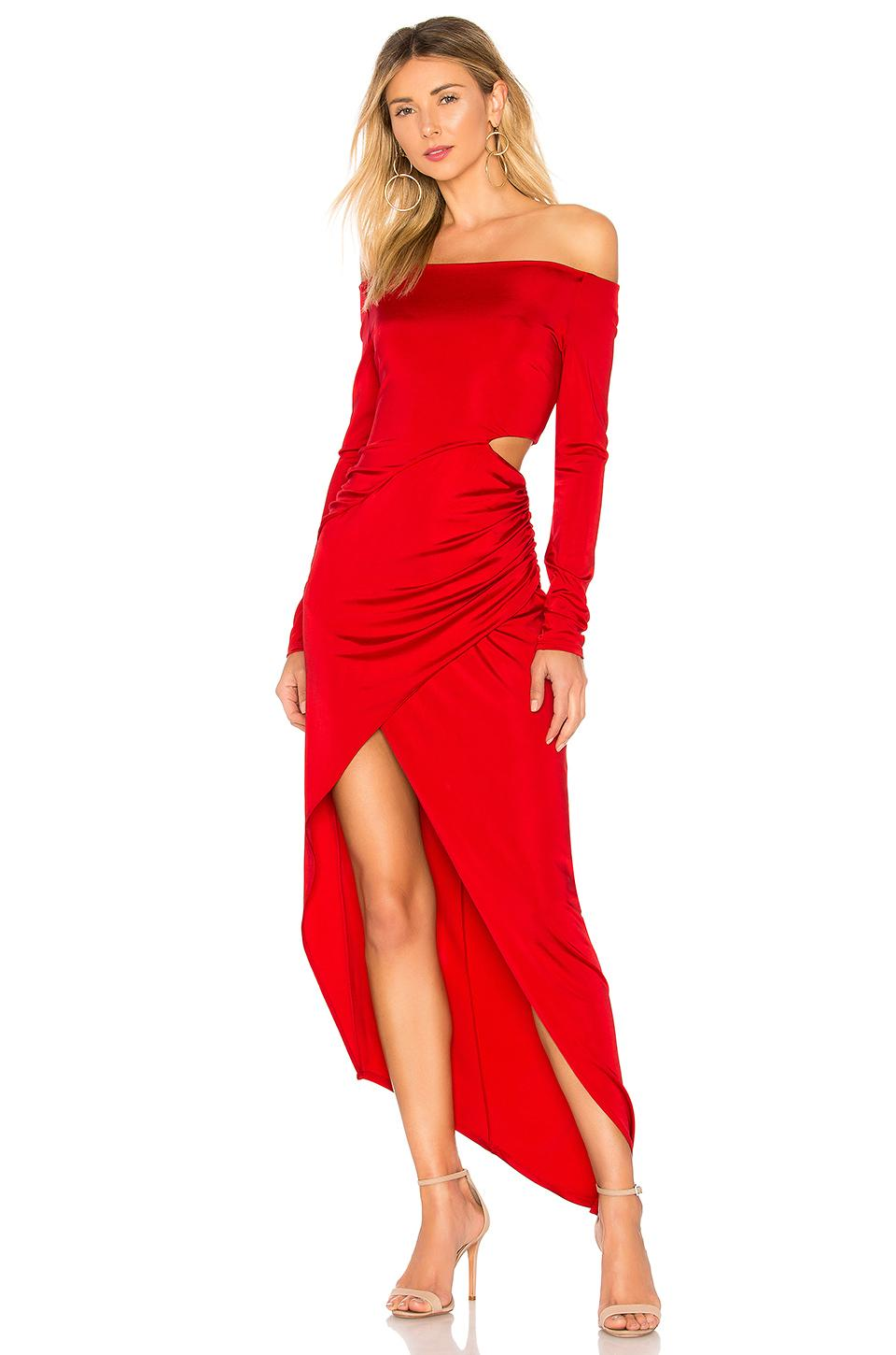 Michelle Mason Boatneck Wrap Dress In Red