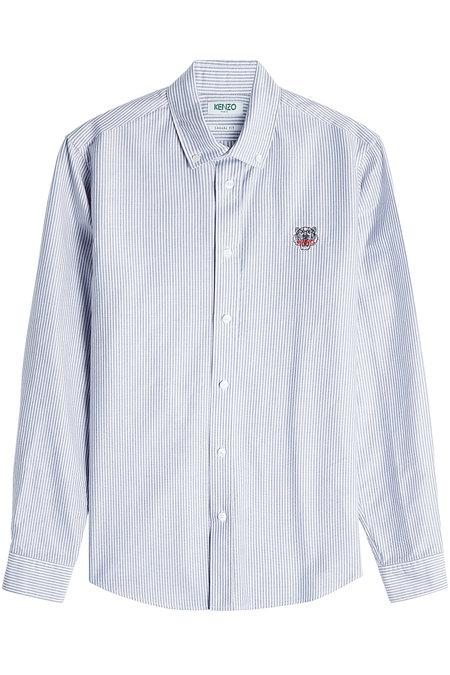 Kenzo Embroidered Cotton Shirt In Stripes