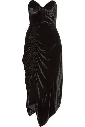 Woman Alexa Strapless Lace Trimmed Velvet Midi Dress Black