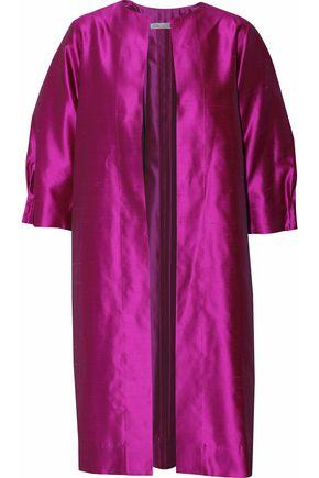 Oscar De La Renta Woman Pleated Silk-Shatung Jacket Magenta