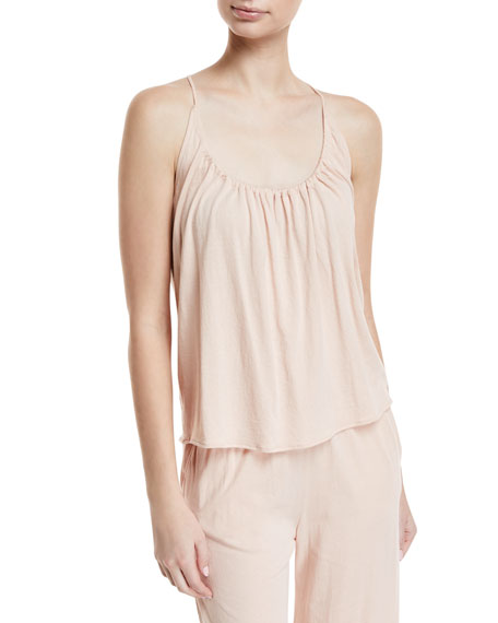 Skin Ladies Soft Pink Kylie Scoop-Neck Cotton-Jersey Top In Cafe Creme