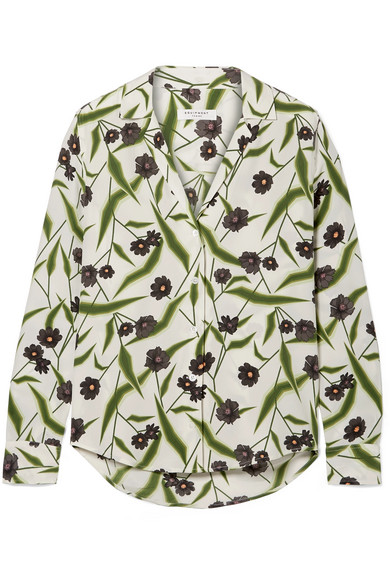 Equipment Adalyn Floral-print Washed-silk Shirt In White