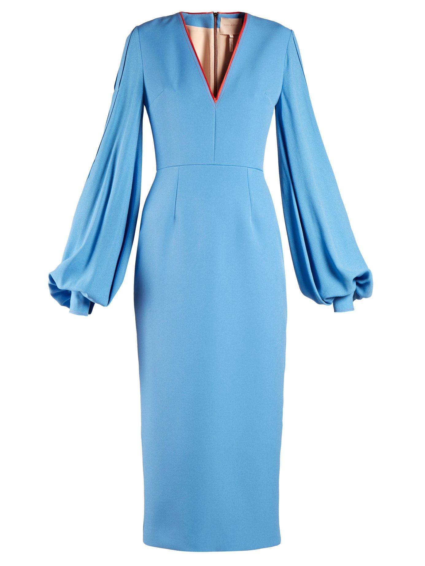 14ab0e7c2ba6 Roksanda Essi Balloon-Sleeve Crepe-Satin Dress In Blue