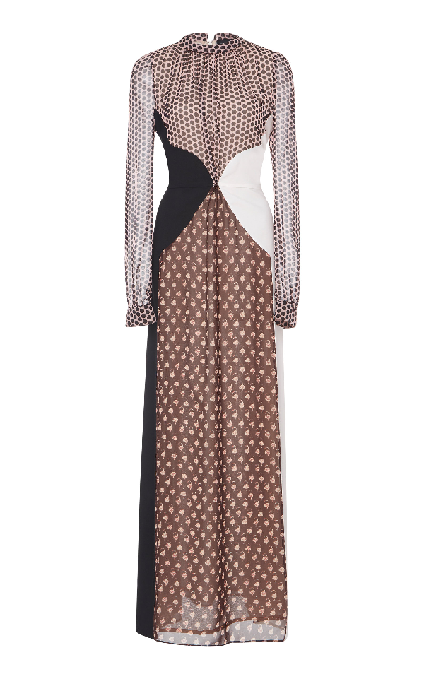 e5af1fcdaff Giambattista Valli Polka-Dot Paneled Silk Gown In Print