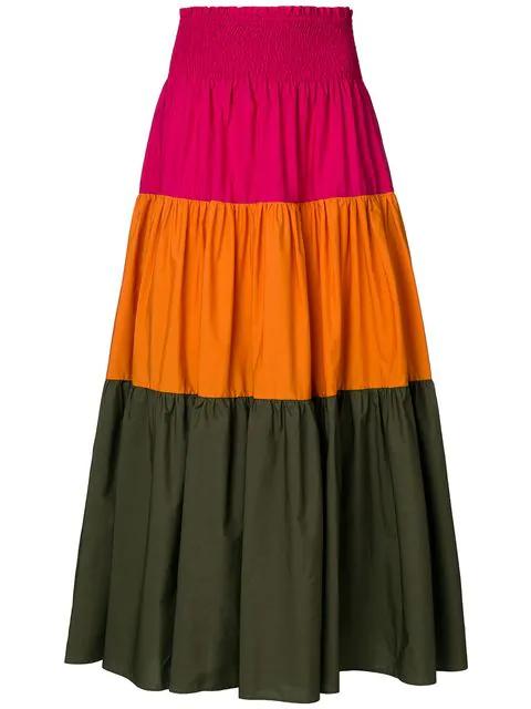 Pinko Colour Block Skirt In Multicolour