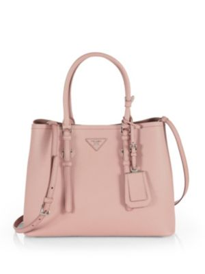 e66449fcd18cd6 Prada Saffiano Cuir Small Double Bag In Cammeo-Nude | ModeSens