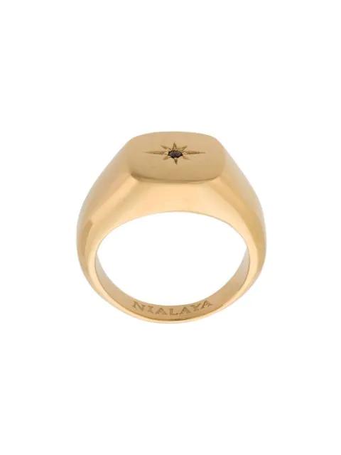 Nialaya Jewelry Skyfall Starburst Signature Ring In Gold In Metallic