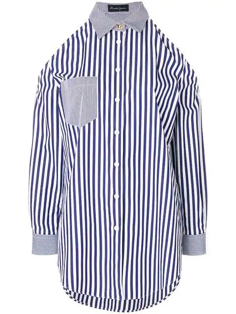Rossella Jardini Striped Cold Shoulder Shirt In Blue