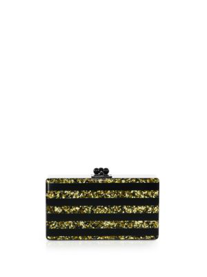 Edie Parker Jean Confetti-Striped Box Clutch Bag, Gold/Silver In Multi