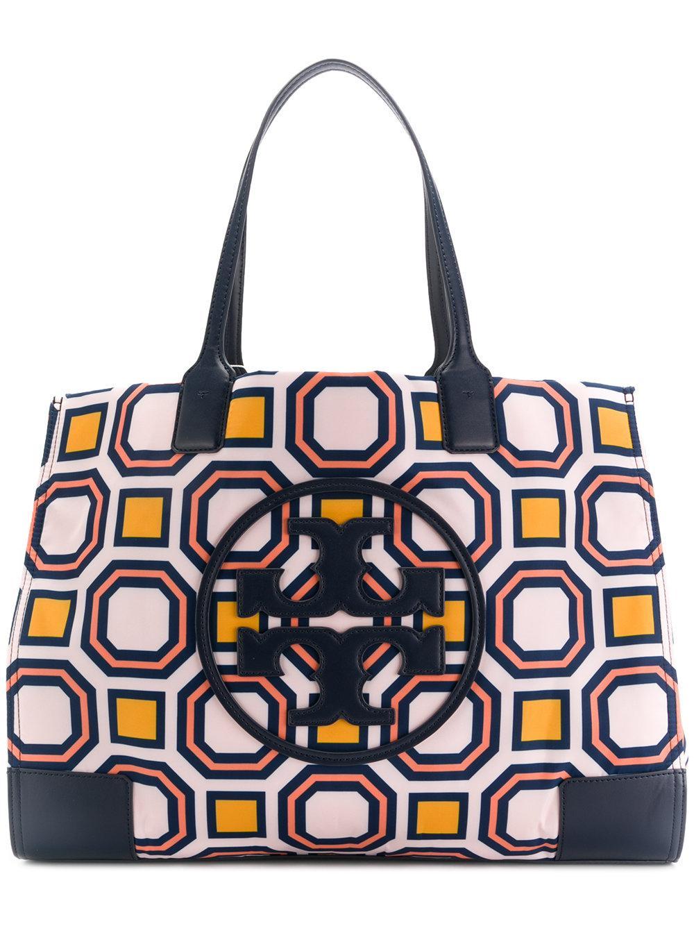 5712347efb5f Tory Burch Mini Ella Octagon Print Nylon Tote - Pink In Vivid Orange Octagon  Square