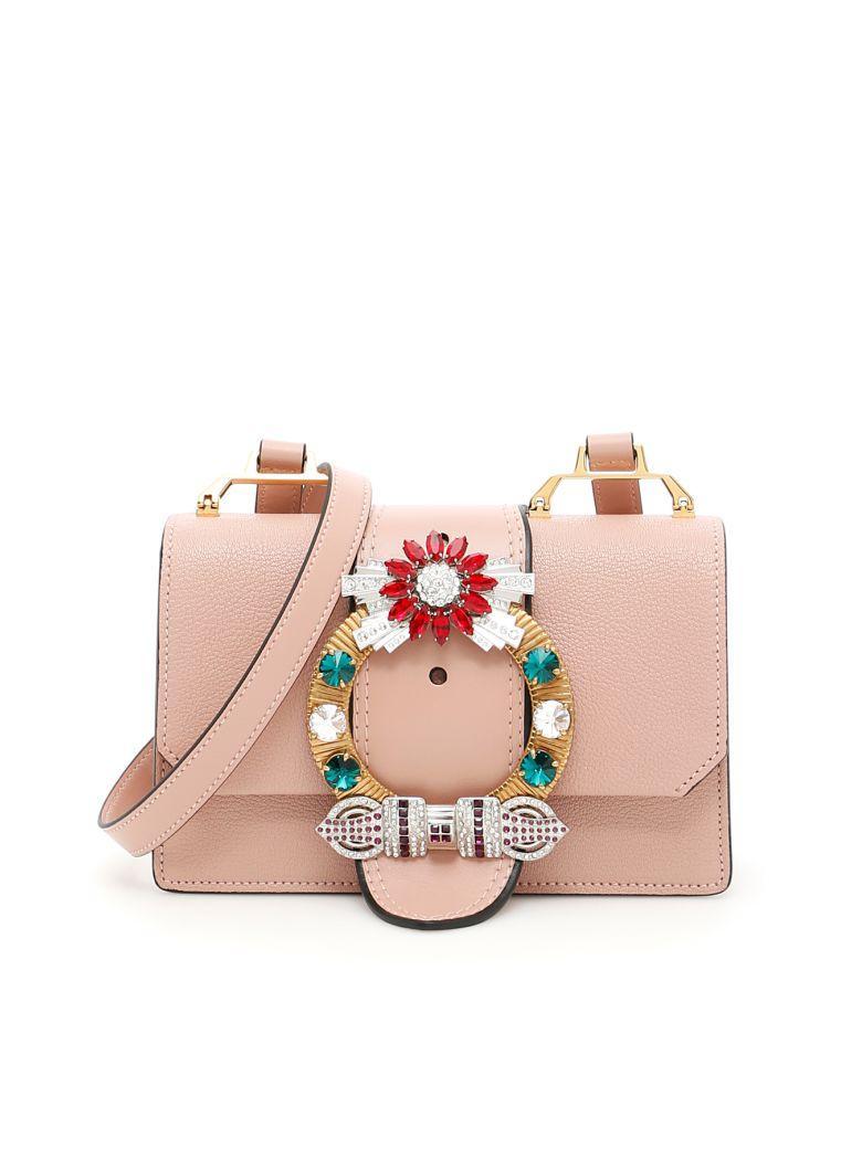 c93e84ff2fd Miu Miu Lady Jeweled Madras Leather Shoulder Bag In Pink