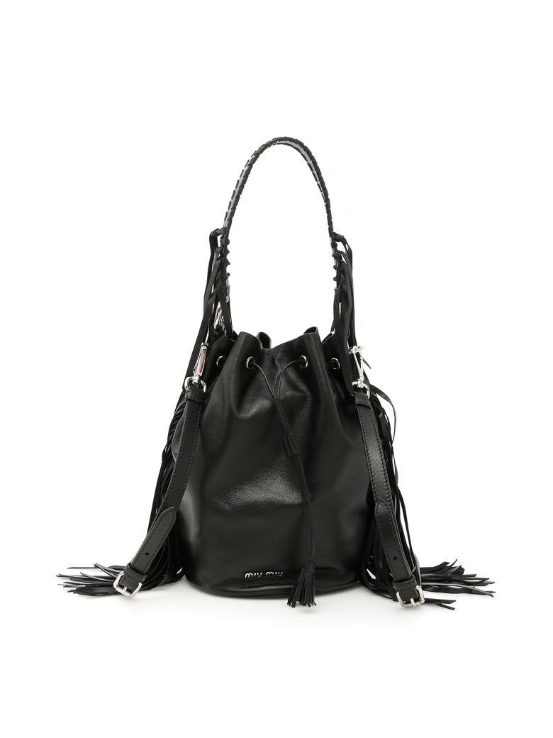 cc856b28433 Miu Miu Fringed Nappa Bucket Bag In Neronero