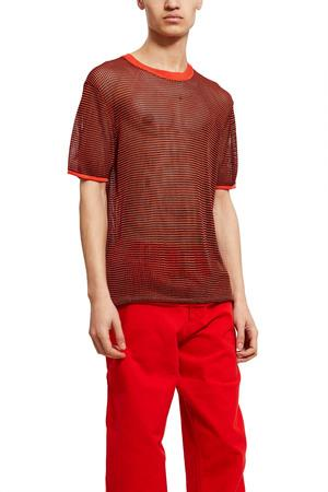 Opening Ceremony Open Knit T-Shirt In Red Multi