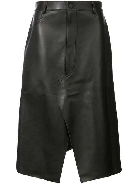 Dion Lee Shadow Stitch Leather Skirt In Black