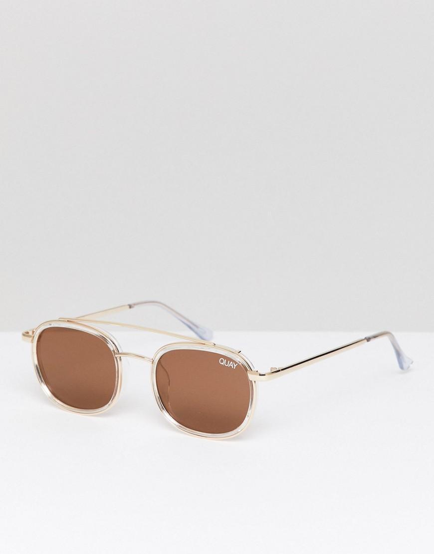 555e58fbb90cf Quay Got It Covered Round Sunglasses In Gold - Gold