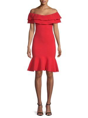 Milly Flounce Hem Off The Shoulder Dress In Poppy