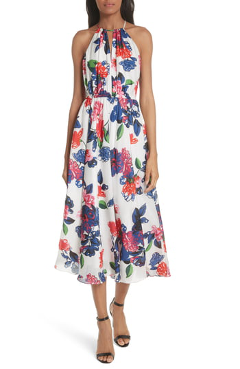 Milly Floral Print Double Keyhole Silk Dress In Multi