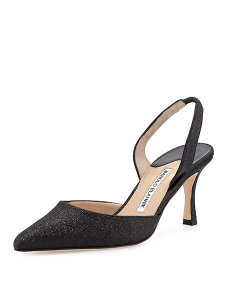 Manolo Blahnik Carolyne Glitter Mid-Heel Halter Pump In Black