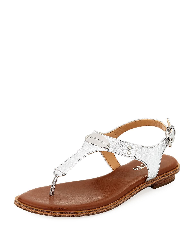 53363a78386 Michael Michael Kors Mk Plate Metallic Saffiano Flat Thong Sandal In Silver