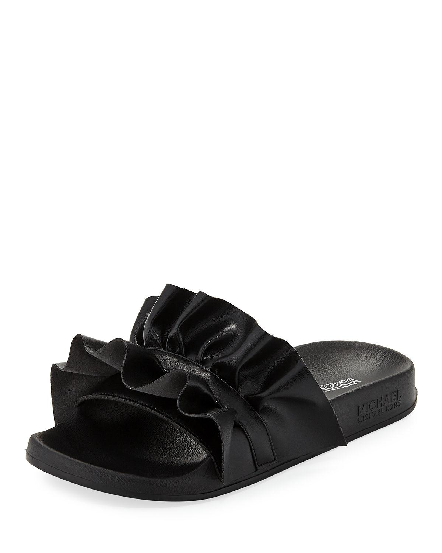 87970ba334ac Michael Michael Kors Bella Ruffled Leather Sport Slide Sandals In Black
