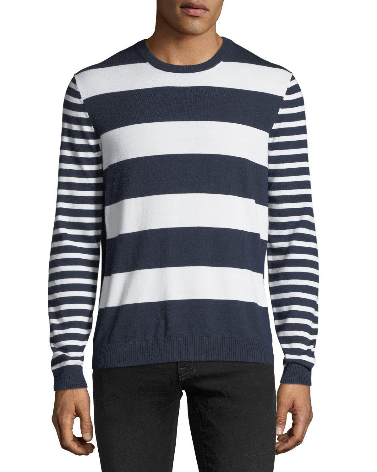 Michael Kors Mixed Striped Cotton Sweater In Midnight