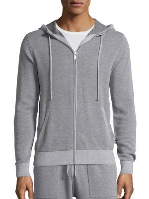 Michael Kors Long Sleeve Cotton Hoodie In Heather Grey