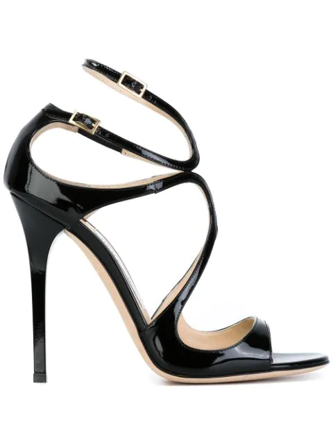 Jimmy Choo Lance 115 Patent-leather Heeled Sandals In Black