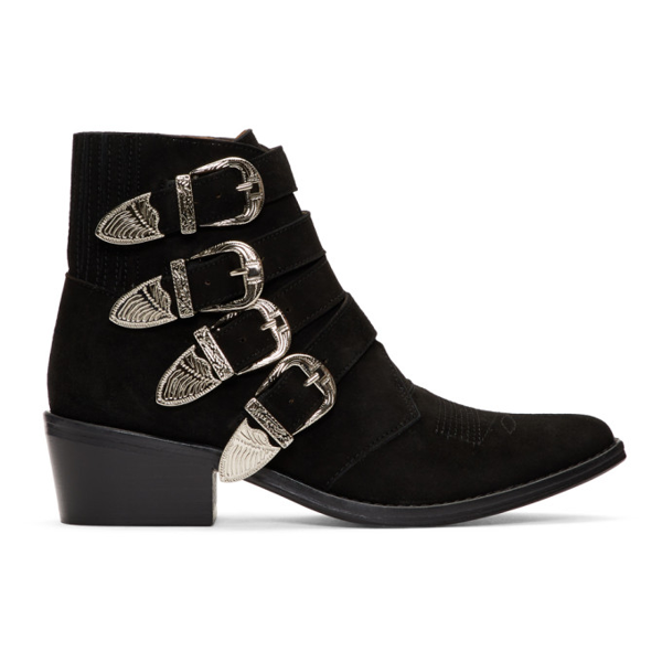 Toga Black Suede Four Buckle Western Boots