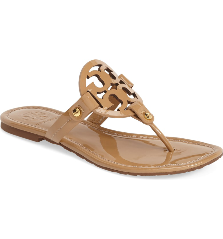 c04195018 Tory Burch Miller Medallion Patent Leather Flat Thong In Sand Patent ...