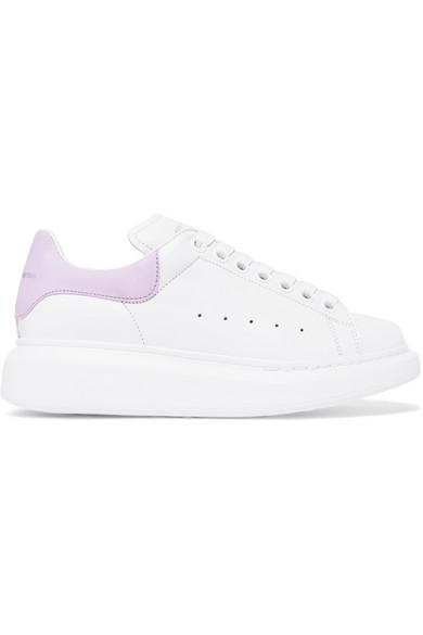 Alexander Mcqueen Suede-Trimmed Leather Exaggerated-Sole Sneakers In White   Purple bb4ca9b81d1a