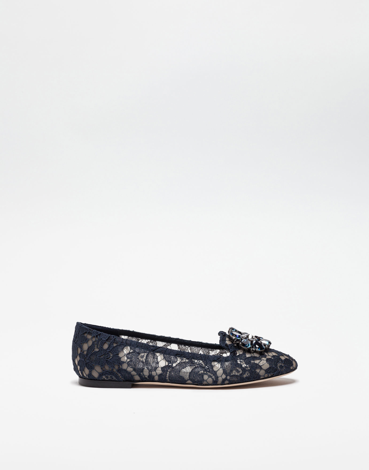 Dolce & Gabbana Slipper In Taormina Lace With Crystals In Blue