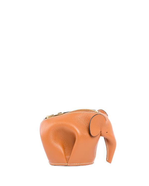 Loewe Elephant Charm Keychain In Orange