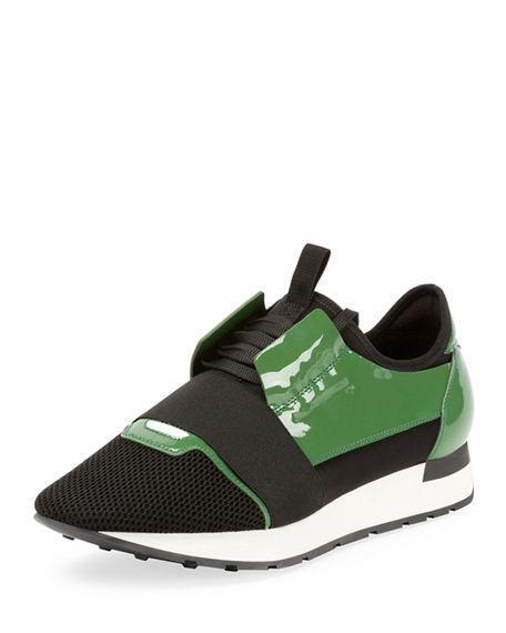 3475e8bd3824 BALENCIAGA. Men S Patent Race Runner Mesh   Leather Sneakers in Green Black