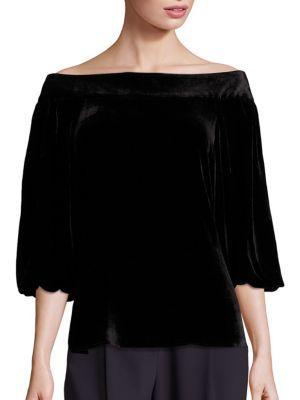Tibi Velvet Off-The-Shoulder Top In Black