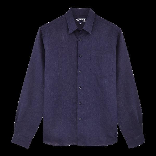 Vilebrequin Caroubie Regular Fit Linen Sport Shirt In Blue