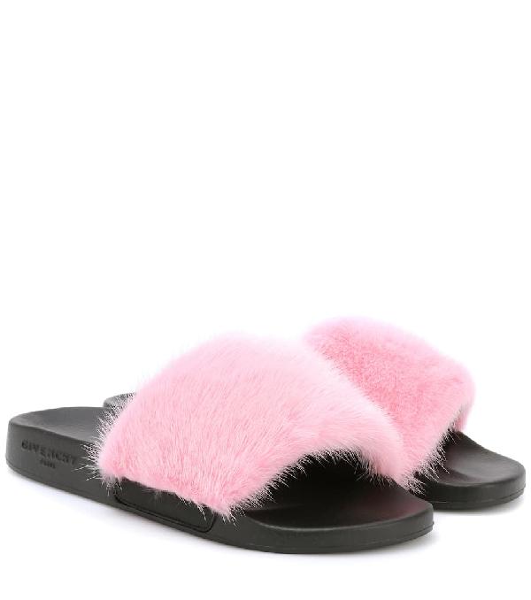 0fc198c95d70 Givenchy Mink Fur Slide Sandals - Bright Pink
