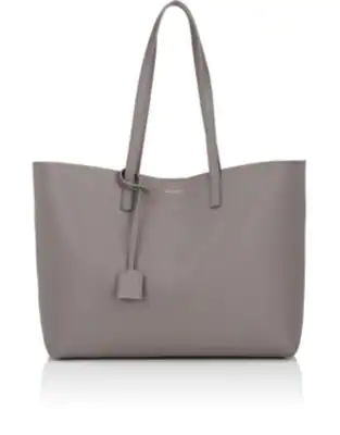 97d9333b58c Large East-West Leather Shopper Bag in Gray