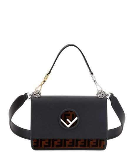 3fb2ac0c78 Fendi Kan I Logo Tappetino Leather   Velvet Shoulder Bag - Grey In Black