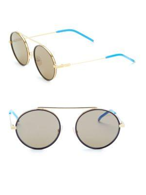 33081bbde03 Fendi 54Mm Round Aviator Sunglasses In Gold Brown