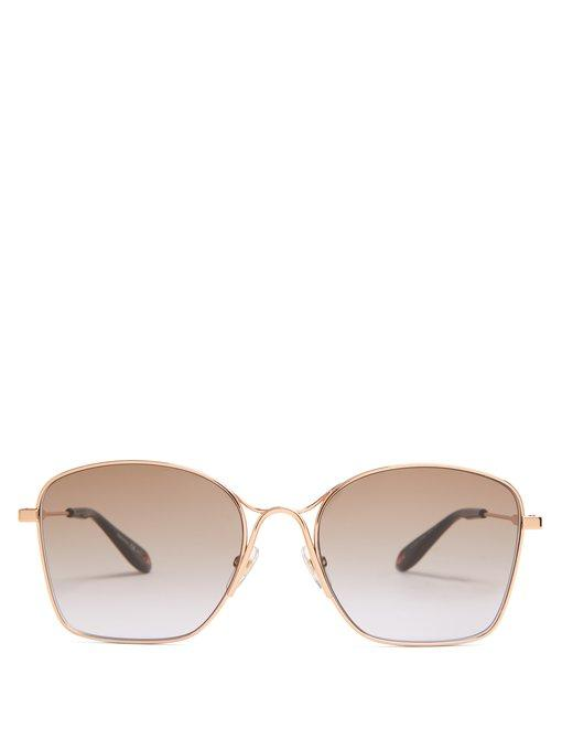 Givenchy Square-frame Metal Sunglasses In Rose Gold