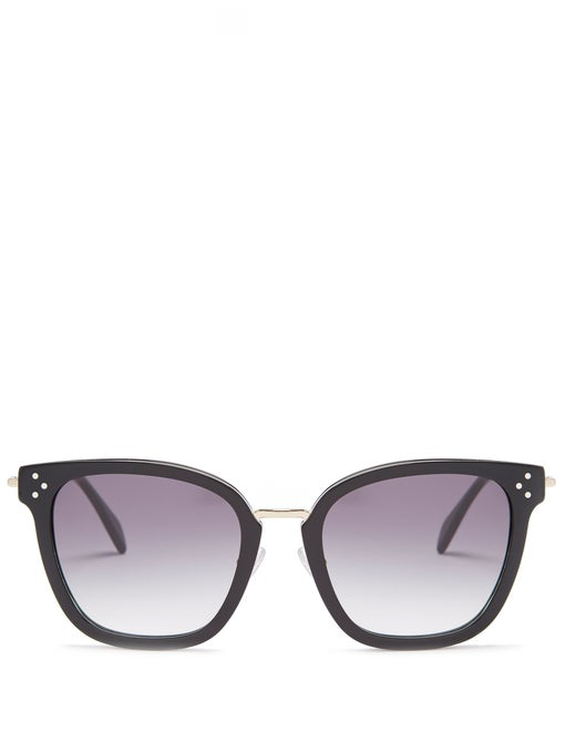 Celine Special Fit 54mm Sunglasses - Black/ Gold/ Smoke