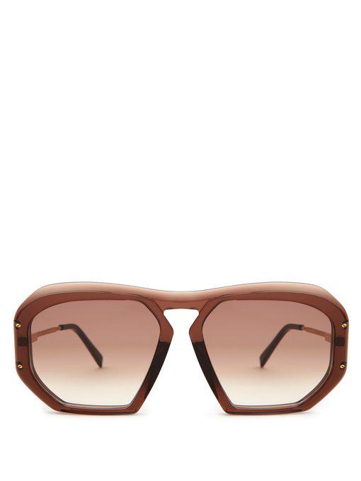 Celine Square Gradient Acetate Sunglasses In Brown