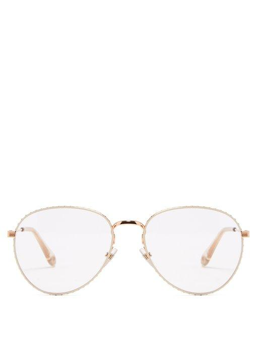3f91460d7d0f Givenchy Round-Frame Metal Glasses In Beige Gold | ModeSens