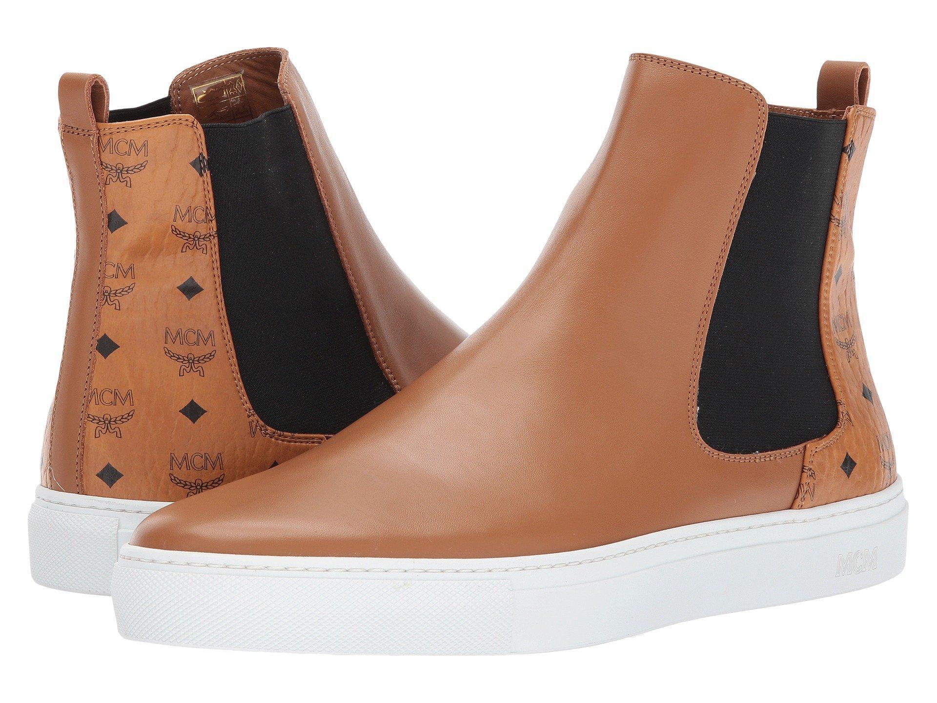 Mcm Visetos Combi Chelsea Boots In Cognac