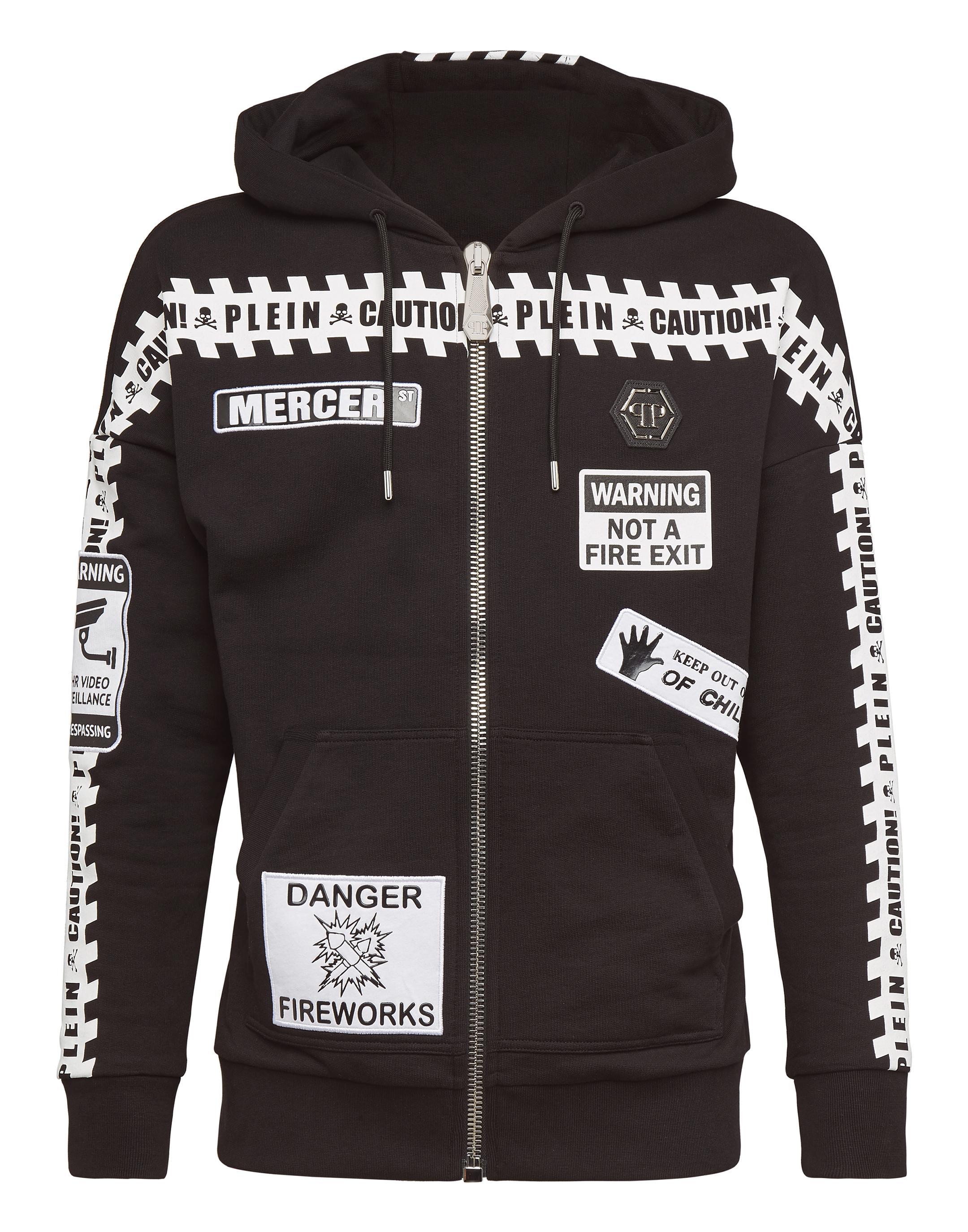 Philipp Plein Hoodie Sweatjacket Mm Warning In Black / White