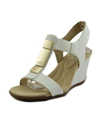 Anne Klein Womens Loona Open Toe Casual Platform Sandals In White