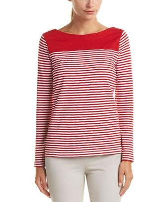 Brooks Brothers Striped Jersey Top In Red Multi