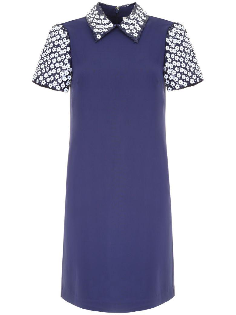Michael Michael Kors Dress With Sequin Collar And Sleeves In True Navyblu