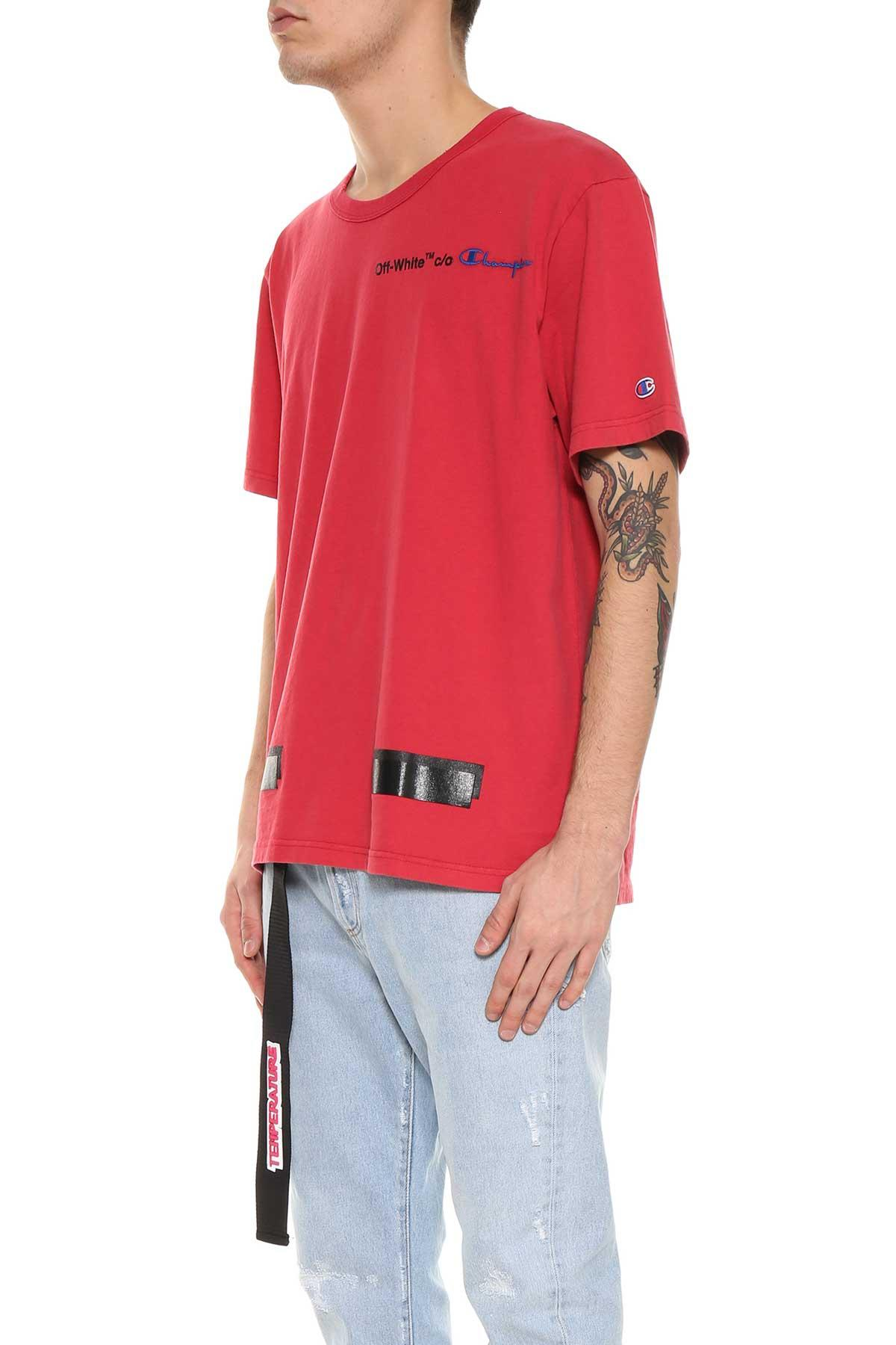 Off-white Red Champion Tee From  In Rosso